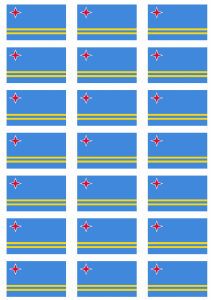 Aruba Flag Stickers - 21 per sheet